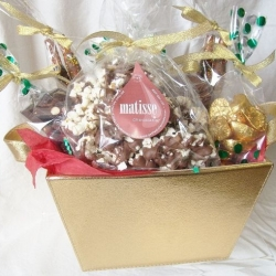 Gourmet Chocolate Gift Basket Gold Leather Look