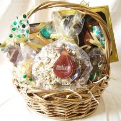 Gourmet Chocolate Gift Basket Gold Wicker Look